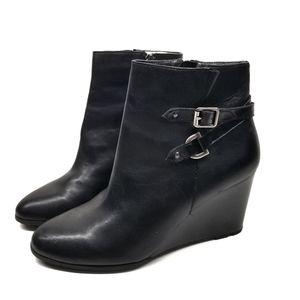 Tahari Sharon Black Wedge Buckle Ankle Boots